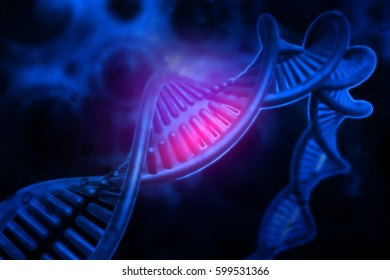 DNA structure on science background. 3d illustration