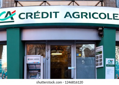 Dnepr city (Dnipropetrovsk), Ukraine,29. 11 2018. Branch of a large French bank Credit Agricole , financial France group in Dnepropetrovsk, Dnipro,