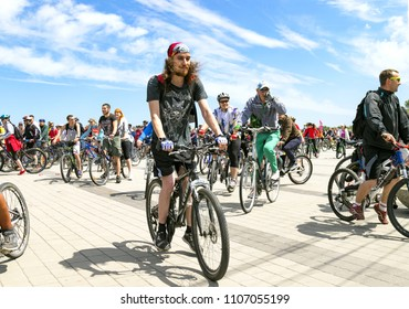 Dnepr city, Ukraine, May 26,  2018. Cyclists  riding bicycles  along the Embankment of the  Dnipro city  during the festival Bike Day ( Dnepropetrovsk)