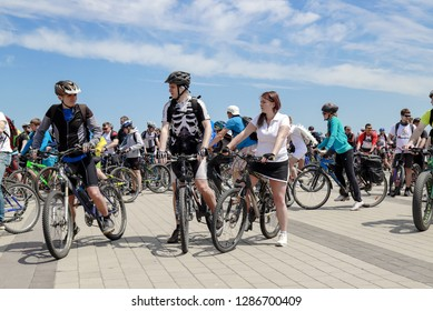 Dnepr city, Ukraine, May 26,  2018. Guys and girls ride bikes during the cycling festival in  Dnipro.  Bike Day Dnepropetrovsk