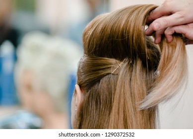 Dnepr, Ukraine- September 11, 2018: procces of creating hairstyle. Open workshop master class of hairdressing Maya Norkina