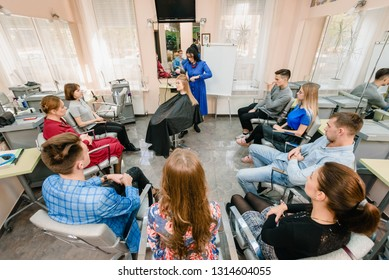 Dnepr, Ukraine- September 11, 2018: open workshop master class of hairdressing Maya Norkina