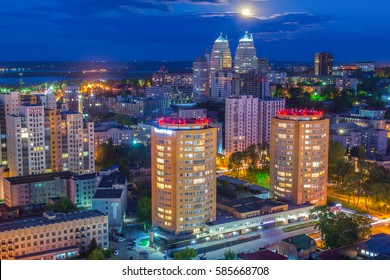 DNEPROPETROVSK (Dnipro), UKRAINE - MAY 03: Night in aerial view, city skyscrapers on 03 of May 2015.