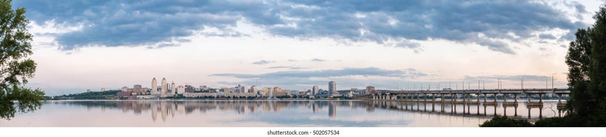 Dnepropetrovsk Dnipropetrovsk, Dnepr city, Dnipro view of the city in the evening.