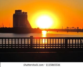 "Dnepropetrovsk, hotel ""Parus"" and bridges, Industrial landscape at sunset"