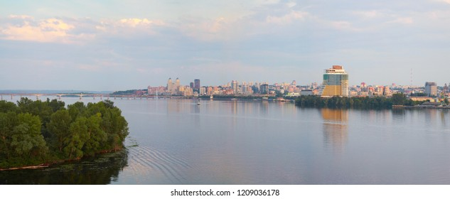 Dnepropetrovsk, panorama of the city, on the banks of the Dnieper river