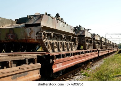 Dnepropetrovsk region, Ukraine - September 16, 2009. Combat vehicles BMD-2s are transported by raiwayl to the exercises in the Crimea.