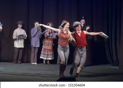 "DNEPROPETROVSK, UKRAINE - APR. 24: Members of the Theatre ""Anthil"" perform ""Pilferers are different you do know"" at the State Russian Drama Theatre on April 24, 2013 in Dnepropetrovsk, Ukraine"