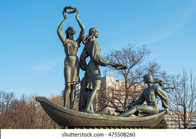 Dnepropetrovsk, Ukraine - April 07, 2016: Sculpture composition Youth of the Dnieper on embankment of Dnieper river in Dnepropetrovsk. The monument was opened in 2005