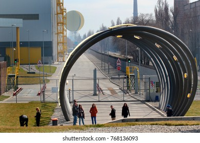 Dnepropetrovsk, Ukraine - April 1, 2017: Your Time Tunnel and Dnepropetrovsk Sunrise, two modern art installations by Olafur Eliasson, 2012. Located near the Interpipe Steel factory.