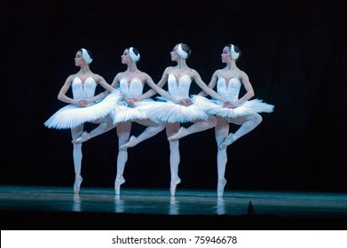 """DNEPROPETROVSK, UKRAINE - APRIL 23: Members of the Dnepropetrovsk Opera and Ballet Theatre perform """"Swan Lake"""" on April 23, 2011 in Dnepropetrovsk, Ukraine"""