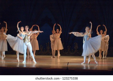 "DNEPROPETROVSK, UKRAINE - DECEMBER 28:""Swan Lake"" ballet performed by Dnepropetrovsk Opera and Ballet Theatre ballet on December 28, 2012 in Dnepropetrovsk, Ukraine."