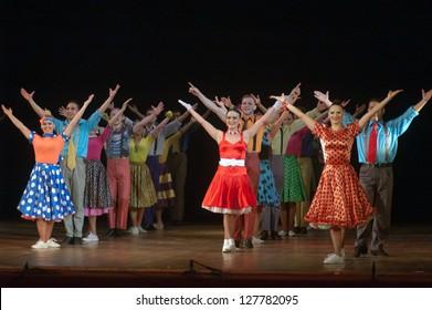 DNEPROPETROVSK, UKRAINE - FEBRUARY 10: Members of the Sevastopol Dance Theatre of Vadim Elizarov perform BROADWAY at State Opera and Ballet Theatre on February 10, 2013 in Dnepropetrovsk, Ukraine