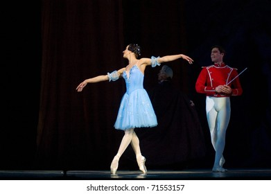 DNEPROPETROVSK, UKRAINE - FEBRUARY 18: Famous dancers Anna Dorosh and Maxim Chepik perform the Nutcracker ballet in the Dnepropetrovsk Opera and Ballet Theatre on February 18, 2011 in Dnepropetrovsk, Ukraine.