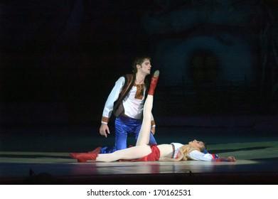 DNEPROPETROVSK, UKRAINE - JANUARY 06: Night before Christmas ballet  performed by Dnepropetrovsk Opera and Ballet Theatre ballet January 06, 2014 in Dnepropetrovsk, Ukraine.