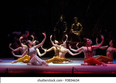 "DNEPROPETROVSK, UKRAINE - JANUARY 28: Members of the Dnepropetrovsk State Opera and Ballet Theatre perform ""Prince Igor"" on January 28, 2012 in Dnepropetrovsk, Ukraine"