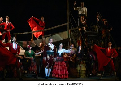 DNEPROPETROVSK, UKRAINE - JUNE 1: Members of the Dnepropetrovsk State Opera and Ballet Theatre perform CARMEN on June 1, 2014 in Dnepropetrovsk, Ukraine