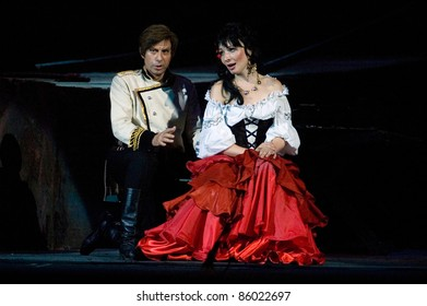 """DNEPROPETROVSK, UKRAINE - JUNE 3: Members of the Dnepropetrovsk State Opera and Ballet Theatre perform """" Carmen """" on June 3, 2011 in Dnepropetrovsk, Ukraine"""