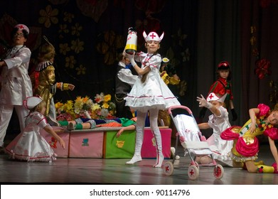 "DNEPROPETROVSK, UKRAINE - JUNE 4: Unidentified Children 6-9 years perform  musical spectacle ""Neznaika"" on June 4, 2011 in Dnepropetrovsk, Ukraine"