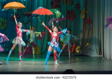 "DNEPROPETROVSK, UKRAINE - JUNE 4: Unidentified Children, ages 8-10 years old, perform musical spectacle ""Neznaika"" on June 4, 2011 in Dnepropetrovsk, Ukraine"