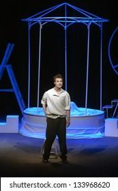 "DNEPROPETROVSK, UKRAINE - MARCH 31: Taras Shevchenko -?? actor of the Dnepropetrovsk Municipal Youth Theatre ""??Verim"" performs ""??Seagull"" on March 31, 2013 in Dnepropetrovsk, Ukraine"