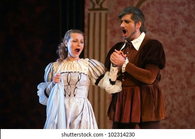 """DNEPROPETROVSK, UKRAINE - MAY 11: Members of the Dnepropetrovsk State Opera and Ballet Theatre perform """"Rigoletto"""" on May 11, 2012 in Dnepropetrovsk, Ukraine"""