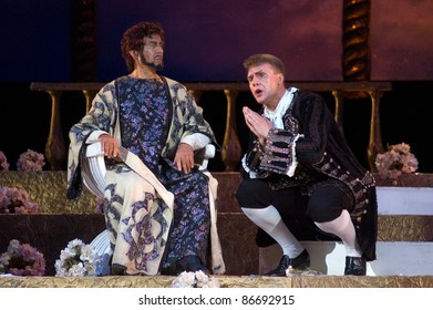"DNEPROPETROVSK, UKRAINE - MAY 14: Members of the Dnepropetrovsk State Opera and Ballet Theatre perform "" Othello "" on May 14, 2011 in Dnepropetrovsk, Ukraine"