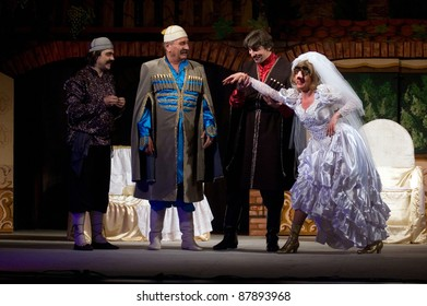 """DNEPROPETROVSK, UKRAINE - MAY 22: Members of the Dnepropetrovsk State Russian Drama Theatre perform """" Hanuma """" on May 22, 2009 in Dnepropetrovsk, Ukraine"""