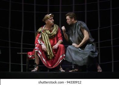 "DNEPROPETROVSK, UKRAINE - NOVEMBER 11: Members of the Dnepropetrovsk State Russian Drama Theatre perform "" Forget Herostratus"" on November 11, 2007 in Dnepropetrovsk, Ukraine"