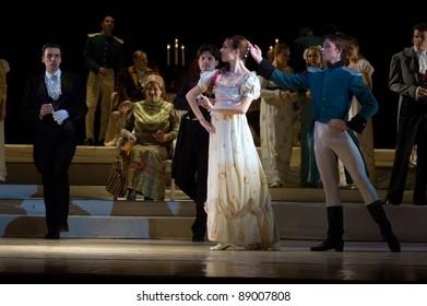 "DNEPROPETROVSK, UKRAINE ? NOVEMBER 15: Members of the Dnepropetrovsk State Opera and Ballet Theatre perform "" Eugene Onegin "" on November 15, 2011 in Dnepropetrovsk, Ukraine"