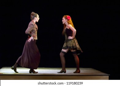 "DNEPROPETROVSK, UKRAINE - NOVEMBER 18: Members of the Dnepropetrovsk Youth Theatre ""Verim""  perform ""Dulcinea Tobosskaya"" on November 18, 2012 in Dnepropetrovsk, Ukraine"