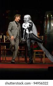 "DNEPROPETROVSK, UKRAINE - NOVEMBER 19: Members of the Dnepropetrovsk State Russian Drama Theatre perform ""Blithe Spirit"" on November 19, 2006 in Dnepropetrovsk, Ukraine"