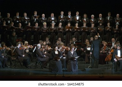 DNEPROPETROVSK, UKRAINE - NOVEMBER 23: Members of the Choir and Symphonic Orchestra of the State Opera and Ballet Theatre perform Mozart's REQUIEM on November 23, 2013 in Dnepropetrovsk, Ukraine