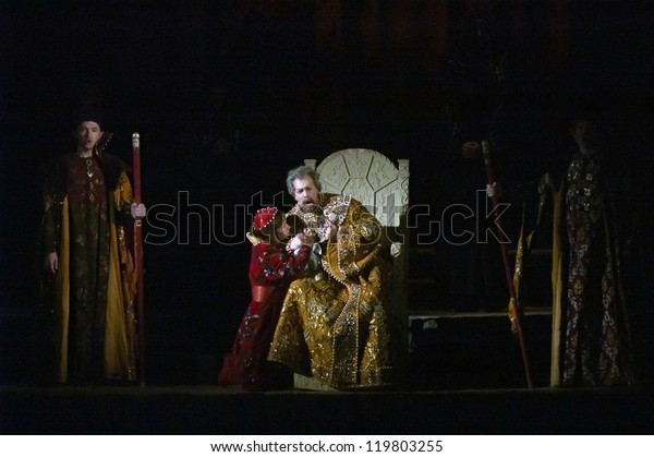 "DNEPROPETROVSK, UKRAINE - NOVEMBER 24: Members of the Dnepropetrovsk State Opera and Ballet Theatre perform ""Boris Godunov"" on November 24, 2012 in Dnepropetrovsk, Ukraine"