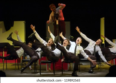 "DNEPROPETROVSK, UKRAINE - NOVEMBER 25: Members of the Dnepropetrovsk Youth Theatre 'Verim"" perform ""Raven"" on November 25, 2012 in Dnepropetrovsk, Ukraine"
