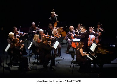 "DNEPROPETROVSK, UKRAINE - OCTOBER 22: ""Four seasons"" Chamber Orchestra - main conductor Dmitry Logvin perform music of Johann Sebastian Bach on October 22, 2012 in Dnepropetrovsk, Ukraine"