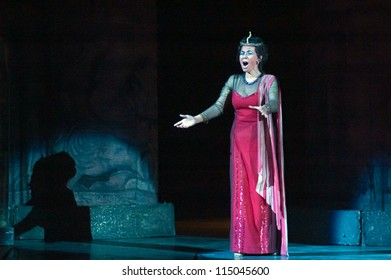 "DNEPROPETROVSK, UKRAINE - OCTOBER 6: Members of the Dnepropetrovsk State Opera and Ballet Theatre perform ""Aida"" on October 6, 2012 in Dnepropetrovsk, Ukraine"