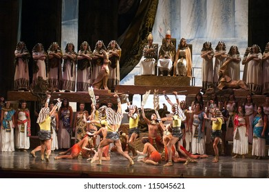 """DNEPROPETROVSK, UKRAINE - OCTOBER 6: Members of the Dnepropetrovsk State Opera and Ballet Theatre perform """"Aida"""" on October 6, 2012 in Dnepropetrovsk, Ukraine"""