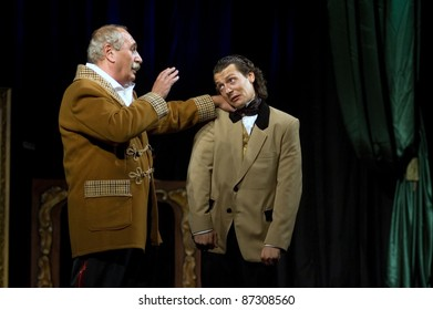 """DNEPROPETROVSK, UKRAINE - OCTOBER 9: Members of the Dnepropetrovsk State Russian Drama Theatre perform """" Even a wise man stumbles """" on October 9, 2008 in Dnepropetrovsk, Ukraine"""