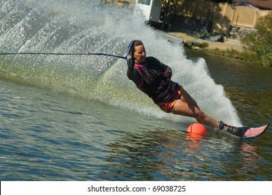 DNEPROPETROVSK, UKRAINE - SEPTEMBER 10: An unidentified participant shows his skills during the International Waterski and Wakeboard competition on September 10, 2010 in Dnepropetrovsk, Ukraine.