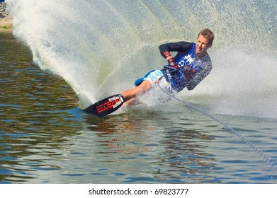 DNEPROPETROVSK, UKRAINE - SEPTEMBER 10: An unidentified participant shows his skills during  International Waterski and Wakeboard competition on September 10, 2010 in Dnepropetrovsk, Ukraine.