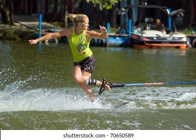 DNEPROPETROVSK, UKRAINE - SEPTEMBER 11: An unidentified participant shows his skills during  International Waterski and Wakeboard competition on September 11, 2010 in Dnepropetrovsk, Ukraine.