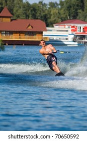 DNEPROPETROVSK, UKRAINE - SEPTEMBER 12: An unidentified participant shows his skills during  International Waterski and Wakeboard competition on September 12, 2010 in Dnepropetrovsk, Ukraine.