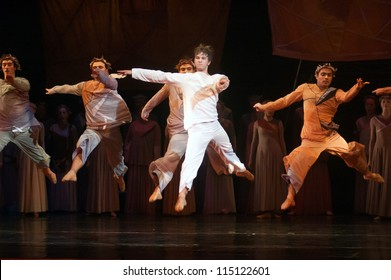 "DNEPROPETROVSK, UKRAINE  SEPTEMBER 25: Members of the Dnepropetrovsk State Opera and Ballet Theatre perform ""Jesus"" on September 25, 2012 in Dnepropetrovsk, Ukraine"
