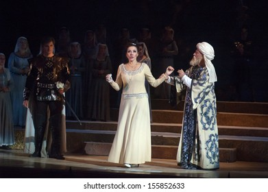 DNEPROPETROVSK, UKRAINE - SEPTEMBER 26: Members of the Dnepropetrovsk State Opera and Ballet Theatre perform IOLANTA on September 26, 2013 in Dnepropetrovsk, Ukraine