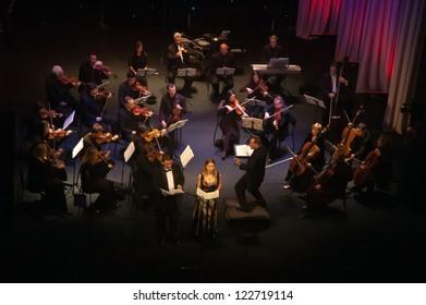 "DNEPROPETROVSK, UKRAINE-DECEMBER 24: National Ensemble artists ""Kyiv Camerata""- main conductor Valery Matyukhin perform Opera ""Rustic"" of E.Stankovich on December 24,2012 in Dnepropetrovsk, Ukraine"