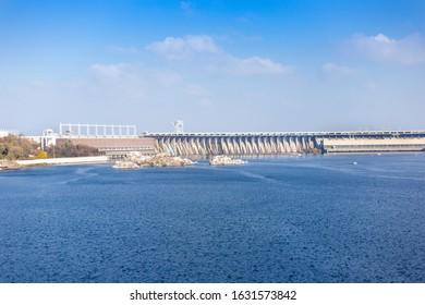 Dnieper hydroelectric station  located in Zaporizhia, Ukraine