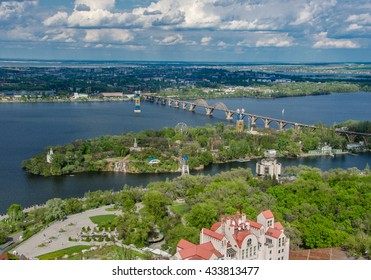 Dnieper river day landscape , buildings panorama view in Dnepropetrovsk, Ukraine .