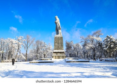 Dnipro city,  Ukraine. 22, 01 2018.  Winter landscape, covered with snow, with a monument to the famous  Ukrainian poet Shevchenko in the Dnepropetrovsk, Dnepr ,Ukraine