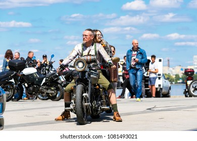 Dnipro city, Ukraine, April 28, 2018. Bikers on motorcycles  open the motorcycle season in  the Dnepr City Embankment . (Dnepropetrovsk, Dnipropetrovsk)